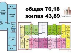 3-к квартира, 76.2 м², 10/17 эт. в Оренбурге