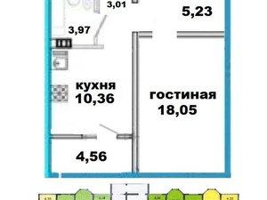 1-к квартира, 42.9 м², 12/17 эт. в Оренбурге
