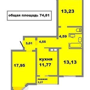 3-к квартира, 75.7 м², 15/17 эт.